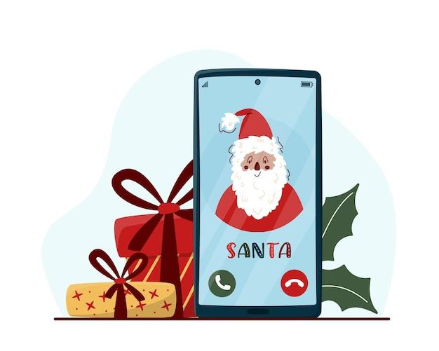 Santa phone call-konzept mit handy und geschenkboxen.