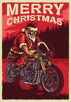 Santa reitet cafee racer fahrrad