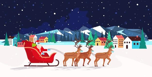 Santa reitet im schlitten mit rentieren frohes neues jahr frohe weihnachten banner winterferien konzept nacht landschaft hintergrund gruß horizontale illustration