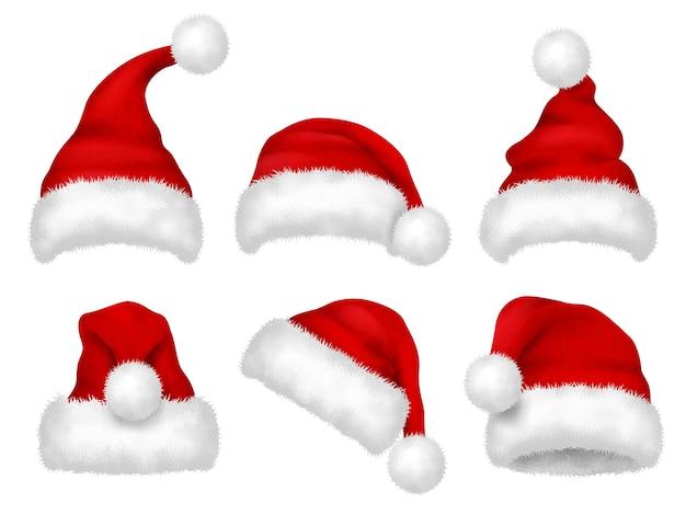 Santa rote mütze. party pelz weihnachten traditionelle samt hut vektor realistische bilder. mütze weihnachten, hut weihnachtsmann, kostüm zur weihnachtsfeiertagillustration