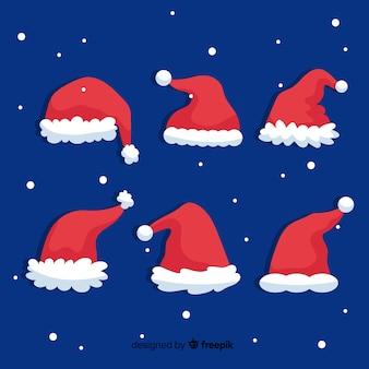 Santa's hutkollektion im flachen design