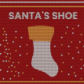 Santa's schuhtypografie-design im strickmuster