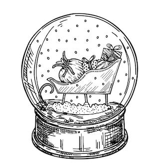 Santa schlitten glaskugel. hand gezeichnet - weihnachtsschneekugel mit einem schneemann, weihnachtszubehör, tannenbaum und der aufschrift hallo winter. für einladungen, grußkarten.