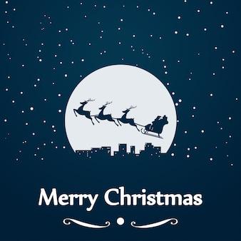 Santa schlitten silhouette bei mond