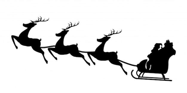 Santa schlitten silhouette