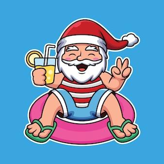 Santa schwimmt mit ballon und hält saft cartoon icon illustration