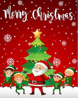 Santa und Elf Frohe Weihnachten Vorlage