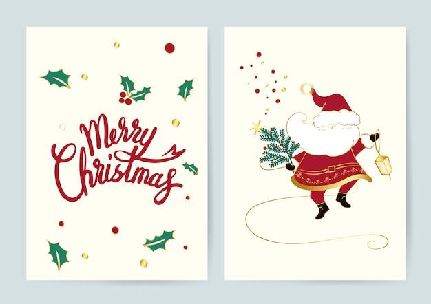 Santa und frohe weihnachten karten vektor