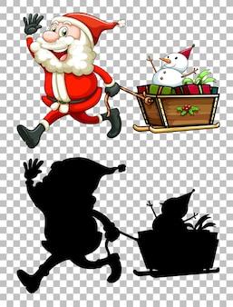 Santa und seine silhouette