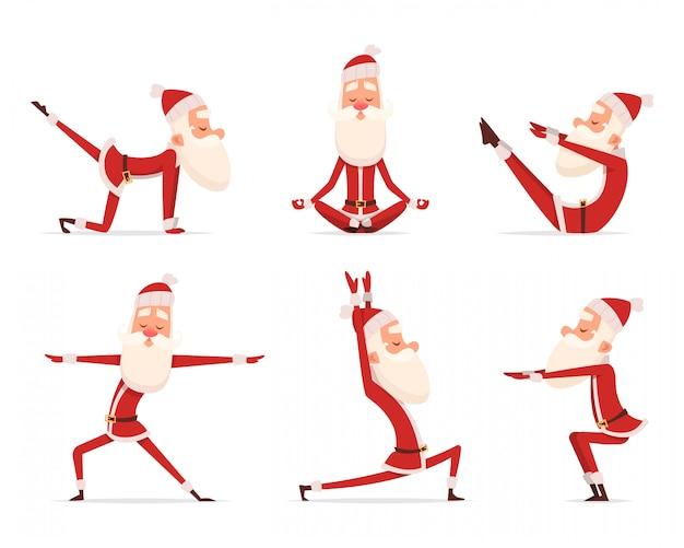 Santa yoga entspannen. der nette gesunde weihnachtsfeiertag weihnachtsmann des winters, der sportyoga tut, übt charaktere aus