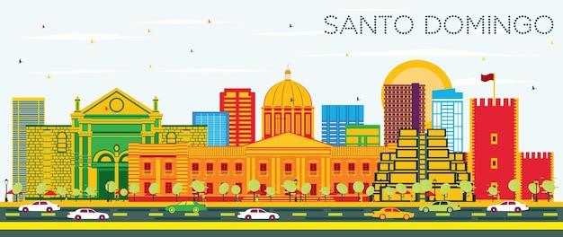 Santo domingo dominikanische republik skyline mit farbgebäuden und blauem himmel. vektor-illustration. tourismuskonzept mit moderner architektur. santo domingo stadtbild mit sehenswürdigkeiten.