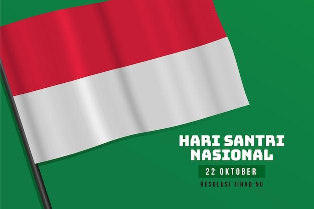 Santri realistischer hintergrund mit flagge