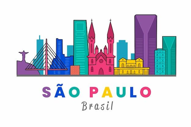 São paulo skyline hand gezeichnet