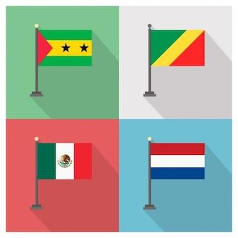 São Tomé und Príncipe Republik Kongo Mexiko und Holland Flaggen