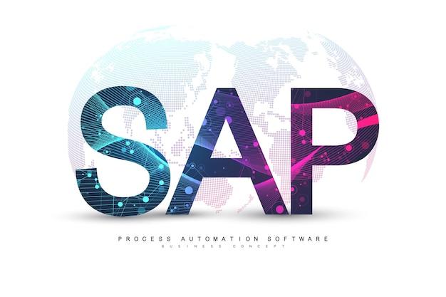 Sap-software zur automatisierung von geschäftsprozessen. konzeptbanner-vorlage für erp-unternehmensressourcenplanungssystem. technologie zukunft science-fiction-konzept sap. künstliche intelligenz. vektor-illustration