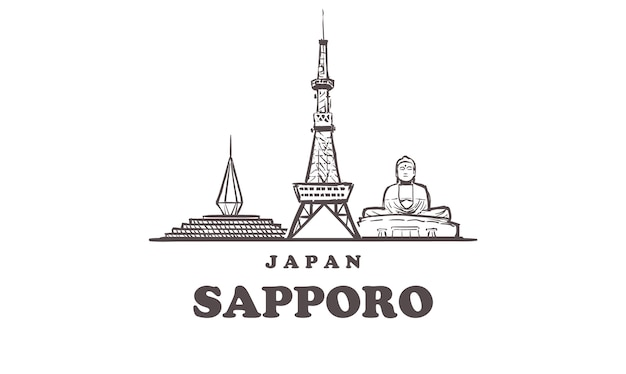 Sapporo skizziert stadtbild lokalisiert auf weiß