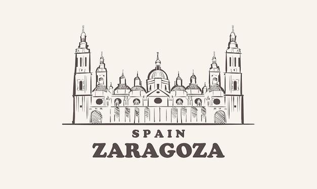 Saragossa-stadtbild-skizze handgezeichnet, spaniens