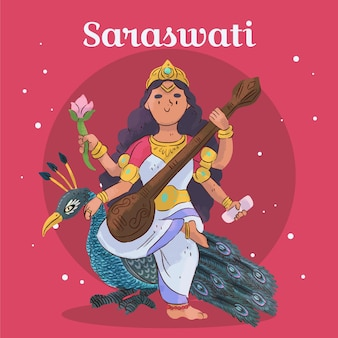 Saraswati göttin und pfau