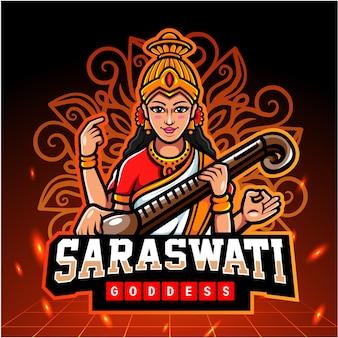 Saraswati maskottchen. esport logo design