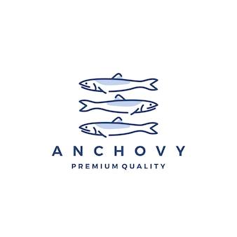 Sardellenfischlogovektorikonen-meerestierillustration