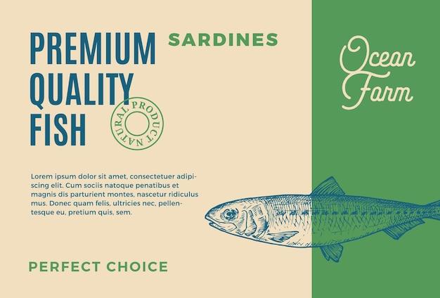 Sardinen in premium-qualität, abstraktes vektor-lebensmittelverpackungsdesign oder moderne typografie und handgemachtes etikett ...