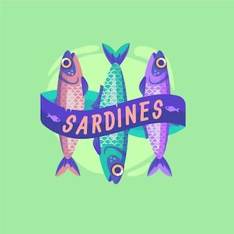 Sardinenillustration des flachen designs