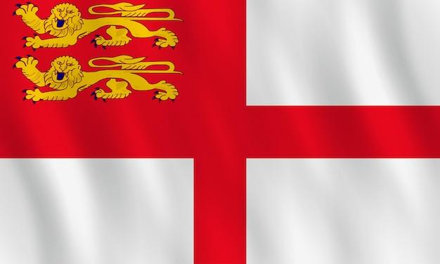 Sark-flagge mit welleneffekt, amtlicher anteil.