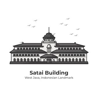 Satai gebäude indonesian landmark cute line illustration