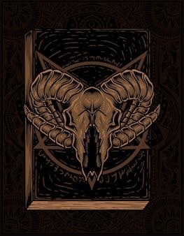 Satan buch mit ziegenschädel