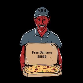 Satan, der offene pappschachtel mit pepperonipizza innerhalb der illustration hält