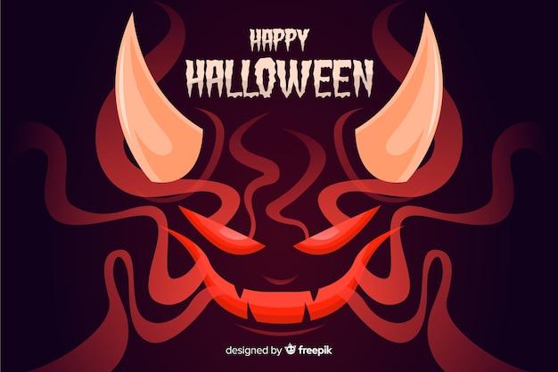 Satan halloween-hintergrund mit flachem design