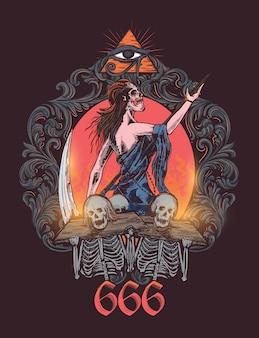 Satanische königin in der dunklen geheimen zeremonie