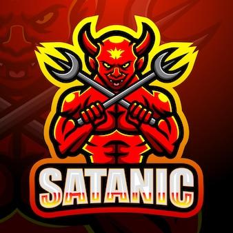 Satanische maskottchen-esportillustration