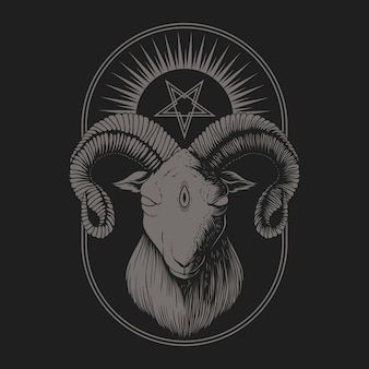 Satanische ziegenillustration