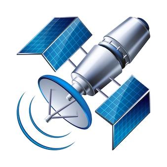 Satellit isoliert auf weißem hintergrund