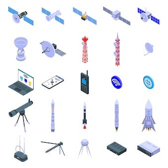 Satelliten icons set