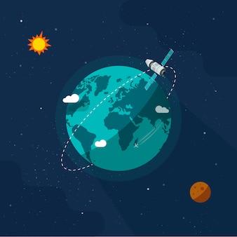 Satelliten-raumschiff, das im weltraum auf dem universum des sonnensystems um den erdplaneten fliegt