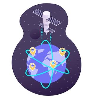 Satelliten-rundfunksignal vom weltraum zum planeten erde, flache vektorillustration. satelliten-internet-service. globales gps- und 5g-hochgeschwindigkeitsnetzwerk.