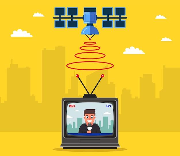 Satellitenfernsehen überträgt das signal zur erde. journalist berichtet live im fernsehen.