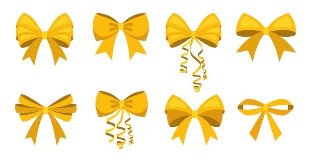 Satinschleifen der gelben bänder des karikaturvektors für weihnachtsgeschenke