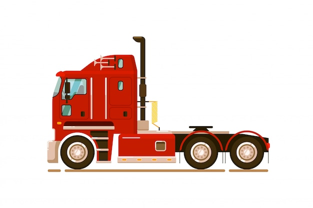 Sattelzug ziehen. spezieller straßen-lkw-transport auf weißem hintergrund. abbildung des transports von fernlastwagen. traktor-seitenansicht automatisch ziehen