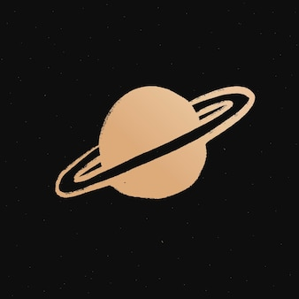 Saturn goldener weltraum-doodle-aufkleber