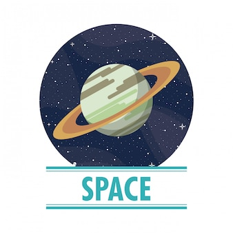 Saturn im raum runden symbol