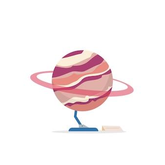 Saturn-karikaturillustration. installation einer astrologie-ausstellung