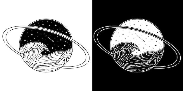 Saturnus mit welle monoline