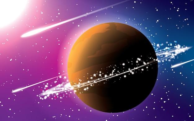 Saturnus-planet mit blauem und rotem farbraum-hintergrundvektor. fallende meteore unter der