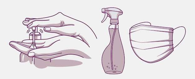 Satz abbildungen für hygiene und infektionsprävention. hand, desinfektionsmittel und medizinische maske waschen