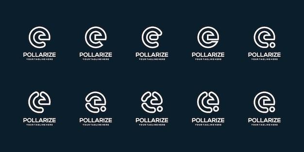 Satz abstrakte anfangsbuchstaben e logo design vorlage illustration