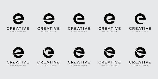 Satz abstrakte anfangsbuchstaben e logo-vorlage.