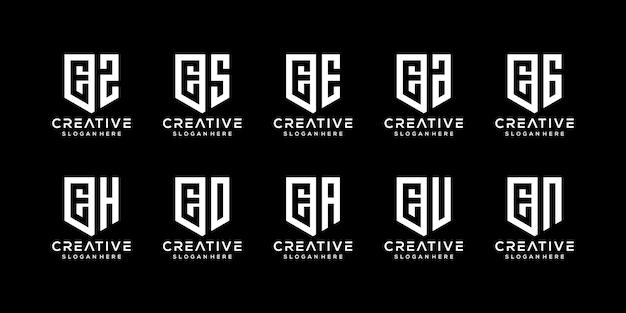 Satz abstrakte anfangsbuchstaben e logo-vorlage
